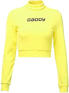PAND Autumn Color Ribbed T Shirt Women Long Sleeve Turtleneck Tshirt Letter Fashion Knitted Crop Top