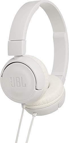 JBL T450 - Auriculares supraaurales con micrófono incluido y cable, control remoto de un solo botón, sonido Pure Bass, color blanco