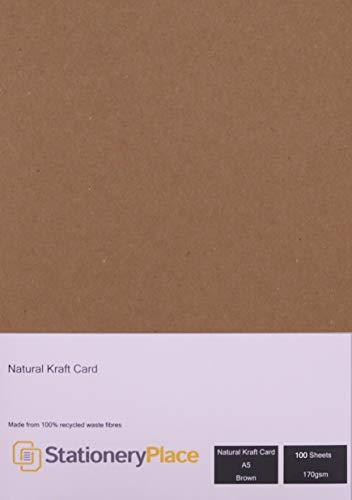 briefpapier plaats, dun - bruin natuurlijke kraft kaart A5 210 x 148mm 170 GSM 100 vel Pack