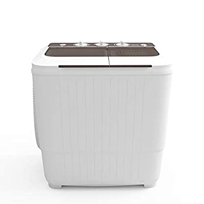 2020 latest Portable Washing Machine, KUPPET 16.5lbs Compact Twin Tub Wash&Spin Combo for Apartment, Dorms, RVs, Camping and More, White&Brown