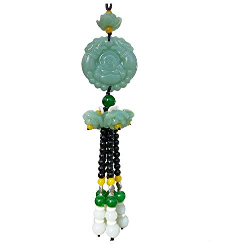 Green Crystal Car Hanging Decoration & Jade Buckle Dangling Ornaments Rearview Mirror Charms Pendant Amulet Pray for Luck Safety Laughing Buddha