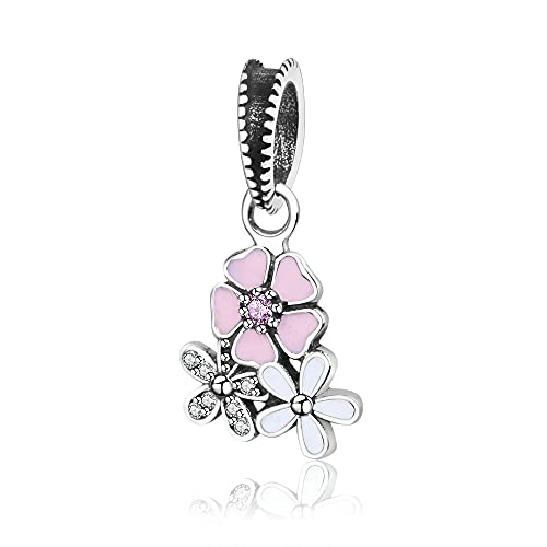 LIIHVYI Pandora Charms para Mujeres Cuentas Plata De Ley 925 Colección Europa Joyería Esmalte Flor Compatible con Pulseras Europeos Collars