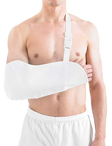 Neo G Cotton Arm Sling – Support For Injury Recovery, Pre/Post-Surgery Aid, Breathable & Lightweight Fabric, Elevate Arm, Arm & Shoulder Immobilization – Class 1 Medical Device – White - Medium