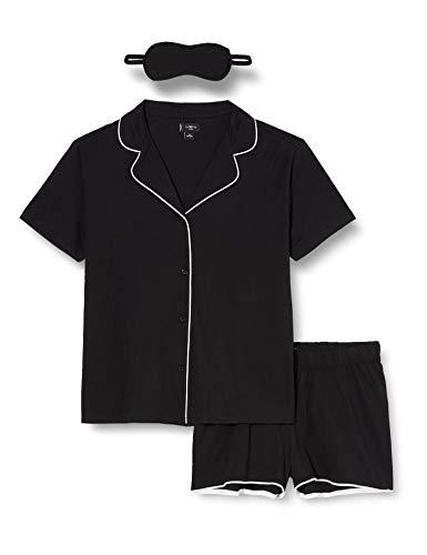 Iris & Lilly Pijama de Satén Mujer, Negro (Black), XS, Label: XS