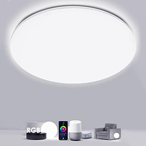 Smart RGBW Plafoniera LED Soffitto Alexa Google Home Compatibile, WiFi Iimmerabile Lampada LED Soffitto per casa ∅35cm