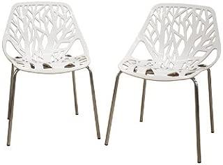 Baxton Studio Birch Sapling White Plastic Accent/Dining Chair, Set of 2