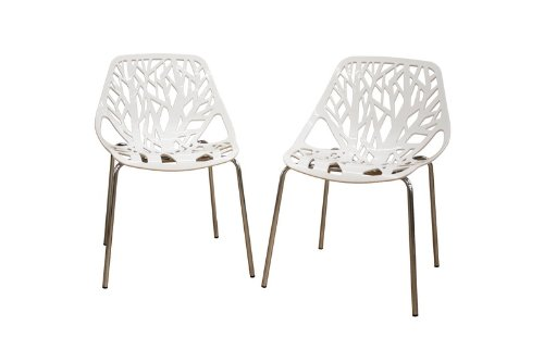 Baxton Studio Birch Sapling White Plastic Accent/Dining Chair, Set of 2