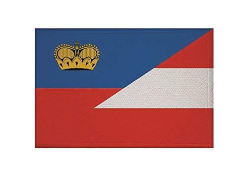 U24 Aufnäher Liechtenstein-Österreich Fahne Flagge Aufbügler Patch 9 x 6 cm
