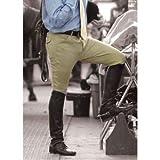 Ovation Men's EuroWeave Front Zip 4-Pocket Knee Patch Woven Breeches, Neutral Beige, 36 Long