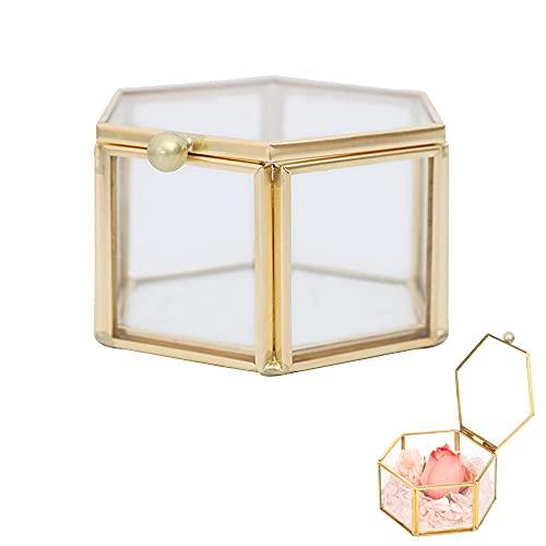 Schmuckschatulle aus Glas, Schmuckschatulle aus Metall und Glas, Geometrisches Glas Terrarium Box, Goldene Vintage Glasdeckeldose, Zum Aufbewahren Und Präsentieren von Ringen, Ohrringen Und Blumen