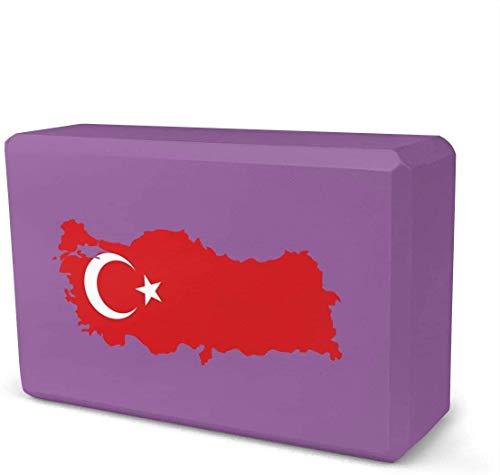 NA Turkije Turkse vlag kaart Yoga Baksteen | Verkocht als een blok | EVA Foam Blok Accessoires voor Yoga, Meditatie, Pilates, Stretching (9inchesx 6inchesx 3inches)
