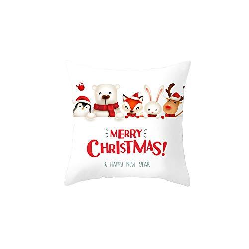 My Cat Fundas de cojín Lindo Santa Claus Funda de almohada para sofá decoración del hogar Fundas de almohada 45x45-PC12134-450mm* 450mm