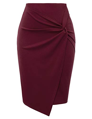 Kate Kasin Women's Knee Length Wine Back Zipper Pencil Skirts Wine Red, XL