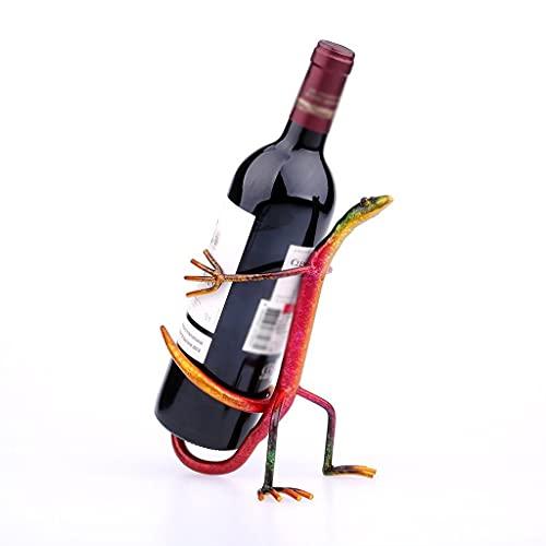 BUYD Almacenamiento de Vino Gecko Vino Estante Moderno estatuilla Metal Escultura decoración del hogar Estante de Vino decoración Interior artesanía Rojo 7.4 × 5.4 × 8.7 Botellero