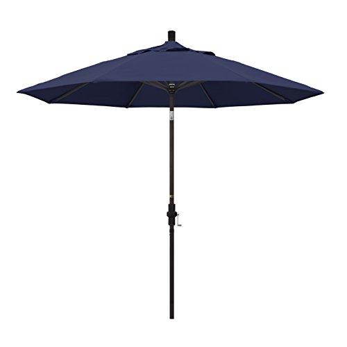 California Umbrella 9' Round Aluminum Market Umbrella, Crank Lift, Collar Tilt, Bronze Pole, Navy Blue Olefin