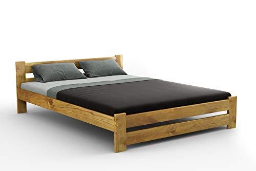 Nuevo de madera de pino macizo cama marco 'F6con sólido, varios colores: roble, pino sin tratar tamaños: pequeño doble 121,92cm, doble 4ft6in, King Size 5pies, madera, marrón, 1,52 m