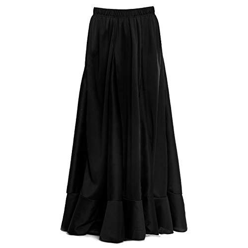 Falda Flamenca Niña con Quillas Negra Lisa [Tallas Infantiles 2 a 12 años]Talla 12 años Ensayo Baile Danza Disfraz