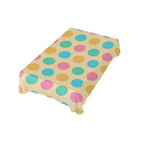 Ostern Tagesdecke Polka Dots 54x54 in Tischdecke für Zuhause Bankett Restaurant Quadratisch Polyester Stoff Tischdecke 137x137 cm, 60x90(in)/152x228 (cm)