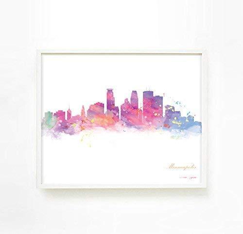 City Skyline Poster, City Skyline Wall Art, Minneapolis Skyline Picture, City Skyline Painting, Minneapolis Wall Art Poster Decor, Unframed Print