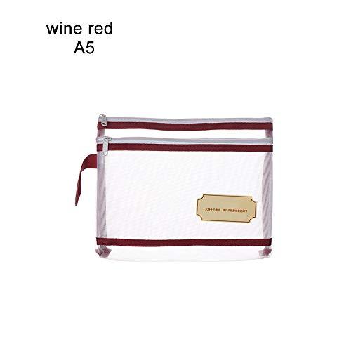 Dateiordner A4 A5 A6 Reißverschluss Notizbuchtasche Transparentes Nylonnetz Dokumentdatei Doppeltasche Bleistiftetui Bürobedarf Aufbewahrungsbox Wine Red A5