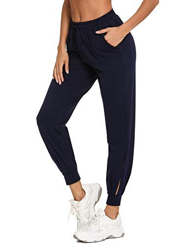 Aibrou Jogginghose Damen Sports Hose Freizeithose High Waist Sports Pants Trainingshose für Fitness, Running, Yoga, Wandern, Gym, Tanzen, Farbe: Dunkelblau, Gr.L