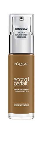 L'Oréal Paris - Fond de Teint Fluide Accord Parfait - Peaux Sèches à Normales - Teinte : Cappuccino (8.N) - 30 ml