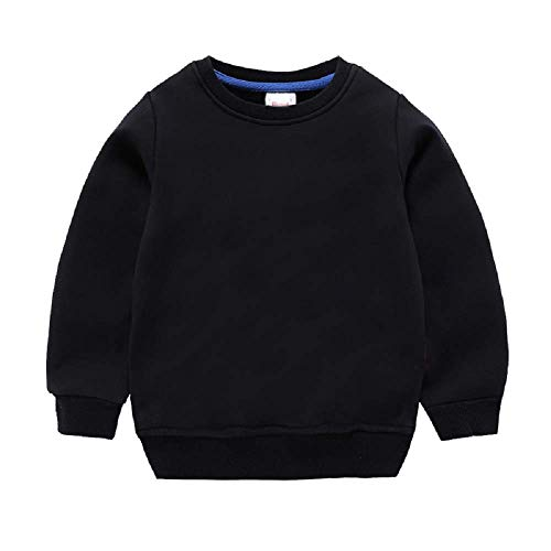 Girls Boys Solid Sweatshirt Kids Long Sleeve Cotton Thin Pullover Toddler Baby Tops Blouse 1-8 Years (Black, 4T)