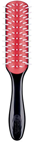 Denman Haarbürste D31 Freeflow, zum Stylen/Glätten kräftiger/mittellanger Haare, antistatisches Gummikissen und Nylonborsten, 7-reihig, schwarz/rot