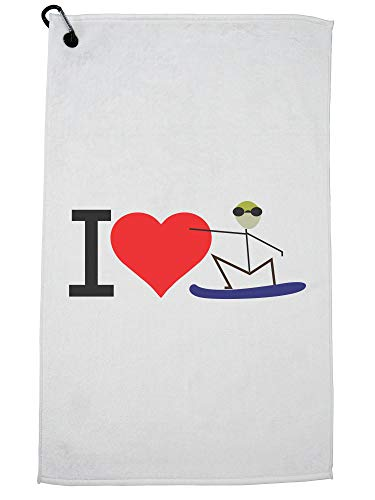 Hollywood Thread I Love Snowboarden Rood Hart Cartoon Golf Handdoek met Karabijnhaak Clip