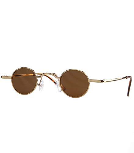 Caripe Lennon Retro Sonnenbrille Damen Herren kleine runde Gläser Metall Vintage – 6882 (gold braun getönt)