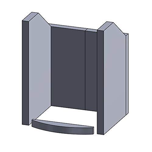 Flamado Feuerraumauskleidung Komplettset 5-teilig passend für Hark Kamin Ersatzteile Kaminofen Brennraumauskleidung Schamotte 1.350°C