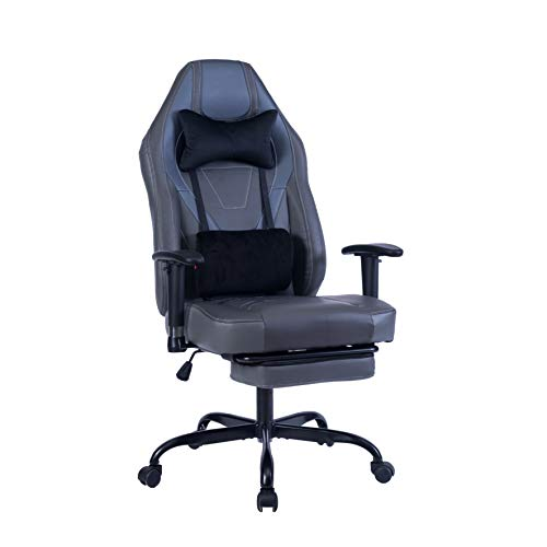 Blue Whale Massage Gaming Chair with Footrest and Metal Base,Thickened Seat Cushion,Adjustable Aluminum Alloy Armrest,High Back PC Racing Office Computer Desk Ergonomic Swivel Task Chair (8340-1 Grey)