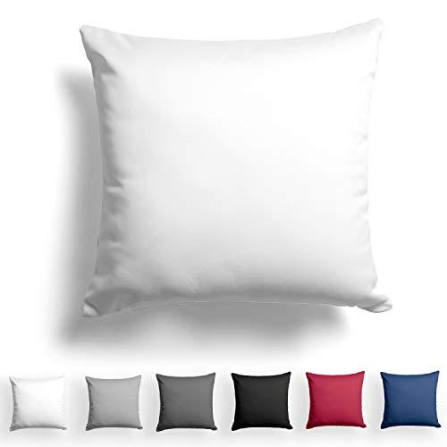 Alreya Mako Satin Taie d'oreiller 100% Coton - 60x60 cm Blanc - avec Fermeture éclair YKK - Hypoallergénique sans Produits Chimiques