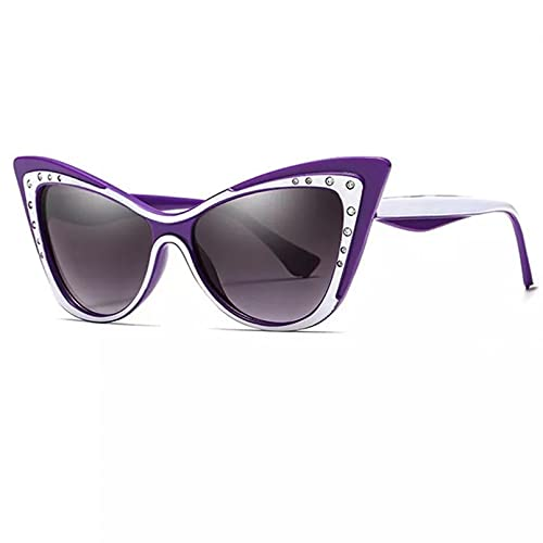 SHEANAON Gafas de Sol con Forma de Ojo de Gato para Mujer, Gafas de Sol con Diamantes de imitación, Gafas de Moda para Mujer