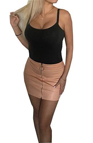 Carolilly Minifalda de Mujer con Cremallera Falda de Cintura Alta Lápiz Corto Elegante Moda (Rosa, S)