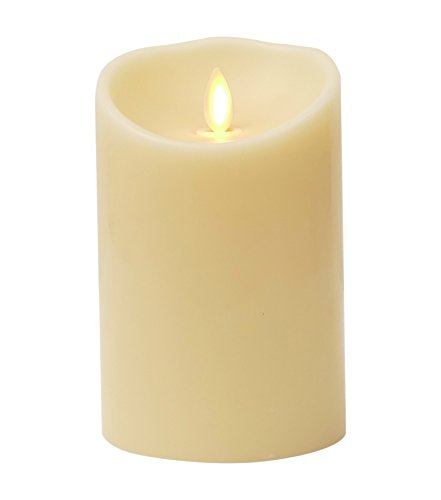 Remote Ready 3.5' x 5' VANILLA SCENTED Ivory Wax Flameless Moving Wick Candle with Timer, by Luminara