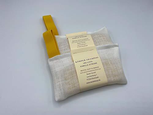 Festes Körpershampoo Kamille Zitrone in ein Leinensäckchen eingenäht für die Dusche ca. 100g ergiebig wie 3 Duschgelflaschen