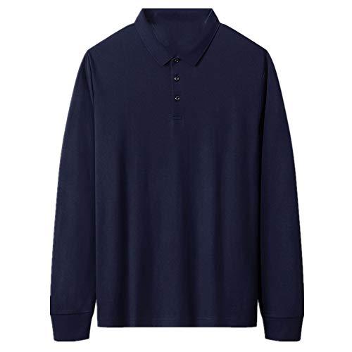 Cotton Plus - Camiseta de manga larga para hombre con solapa suelta para primavera y otoño