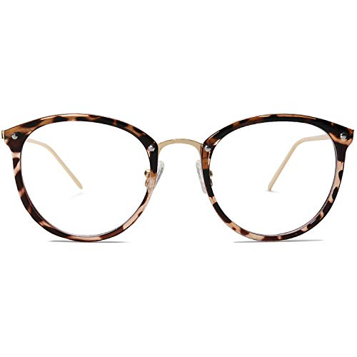 Amomoma Round Non-Prescription Eyeglasses Clear Lens Glasses Eyewear Frame A5001 with Havana Brown Frame/Clear Lens