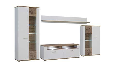 FORTE Asta Wohnwand Kombination inklusive Glasbodenbeleuchtung, Holz, planked eiche mit weiß, 213 x 41.3 x 184 cm