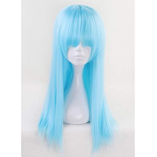 Aotu World Sky Blue larga peluca cosplay con flequillo 60 cm 65 cm limón pelo sintético recto pelucas de fiesta de disfraces de Halloween para mujeresazul claro