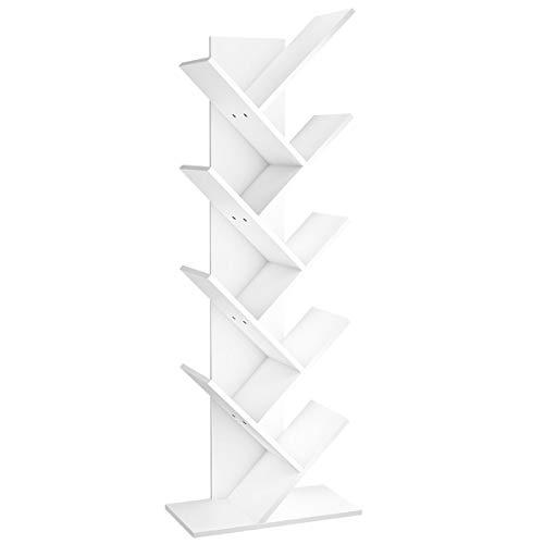 Rerii Small Bookshelf, 2 Tier Bookshelf for Small Spaces, 2 Shelf Bookcase Kids, Book Storage Organizer Case Open Shelves for Bedroom Living Room Office, White
