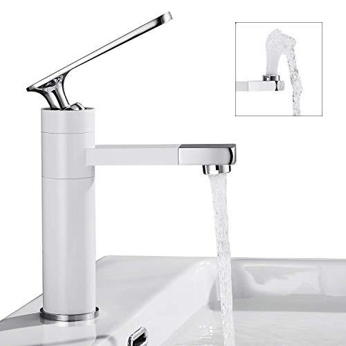 Witte kraan badkamer 360 ° draaibare uitloop wastafelarmatuur met chroom handvat eengreeps mengkraan badkraan wastafelmengkraan mengkraan voor badkamer wastafel Wastafelarmatuur - wit Wastafelarmatuur badkamer