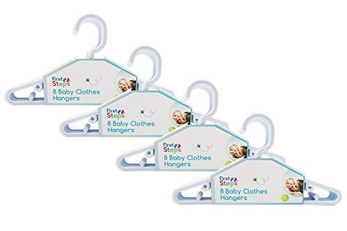 First Steps - Paquete de perchas para ropa de bebé (8, 16, 24 o 32 unidades), color rosa, blanco o azul blanco blanco Talla:Pack of 32