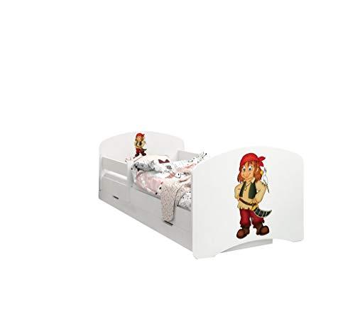 Happy Babies - LIT D'ENFANT DOUBLE FACE AVEC TIROIR Design moderne avec bords sécurisés et matelas en mousse antichute 7 cm (Pirate, 140x70)