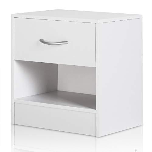 Deuba Nachttisch Weiß Schublade mit Griff & Ablagefach 39 x 28 x 41 cm Holz Nachtkommode Nachtkonsole Nachtschrank