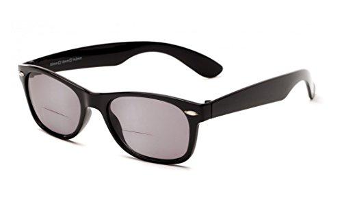 +1.50 Bifokal Sonnen Lesebrille Schawrz Sonnenbrille 100% UV-Schutz Leicht Getönte Gläser Männer Frauen Retro Vintage Zeitlos Fall & Stoff