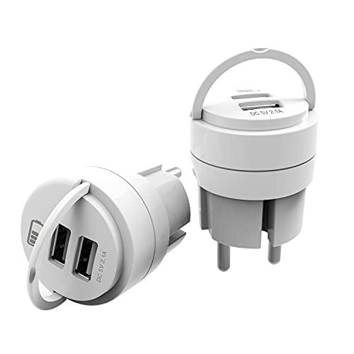 UCOMEN Cargador Enchufe USB con 2 Puertos USB, Adaptadore USB 5V 2.4A, Blanco (2-Pack)