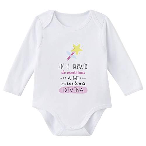 SUPERMOLON Body bebé manga larga En el reparto de madrinas a mi me tocó la más divina Blanco algodón para bebé 0-3 meses