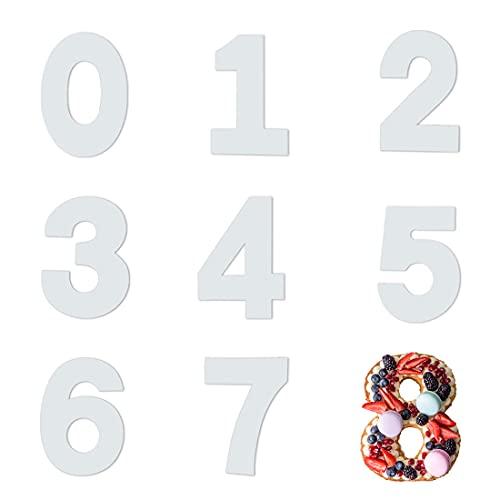 Stampo Torta Numero, 9 pezzi Stampo Numeri per Torte, Stampo per Torta Grande con Numeri da 0-8, Torta Numero Acrilico, Disponibile in 10 pollici e 12 pollici, Sono Disponibili due Dimensioni (12inch)